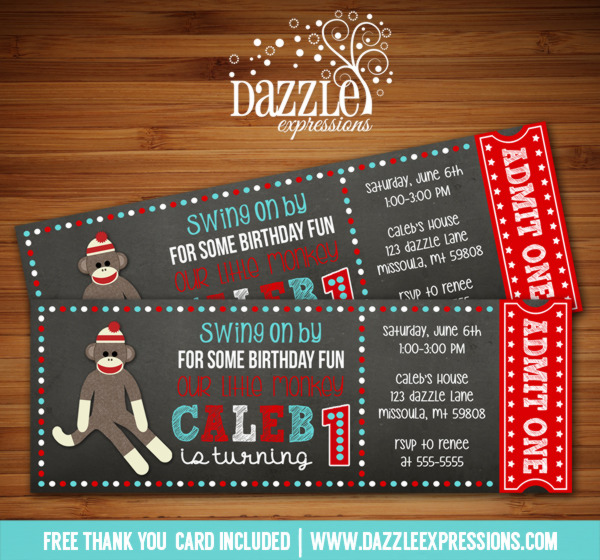 Sock Monkey Chalkboard Ticket Invitation - FREE thank you card