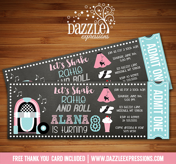 Printable 50s Sock Hop Chalkboard Ticket Birthday Invitation