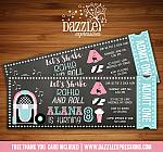 Sock Hop Chalkboard Ticket Invitation 1 - FREE thank you card