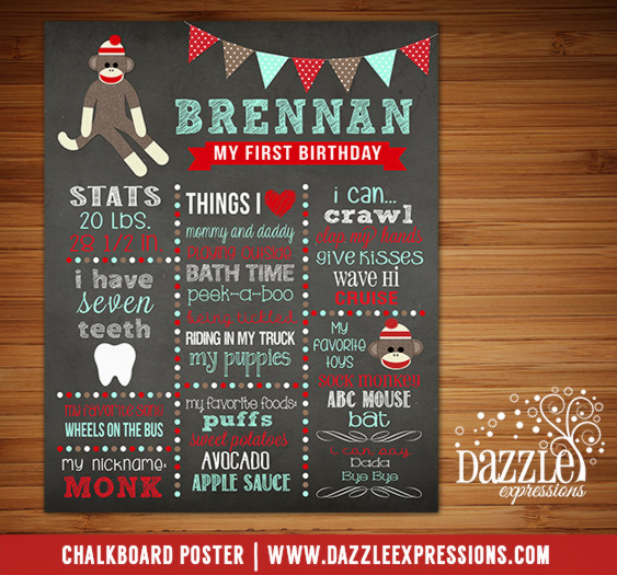 Printable Sock Monkey Chalkboard Poster