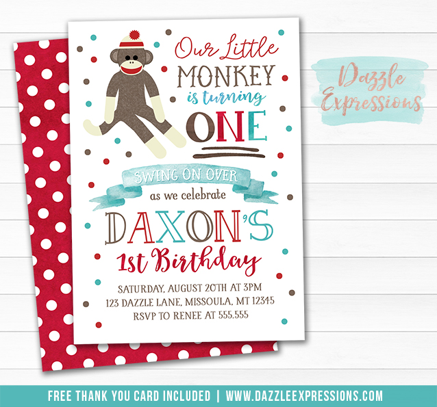 Sock Monkey Watercolor Invitation 1 - FREE thank you card
