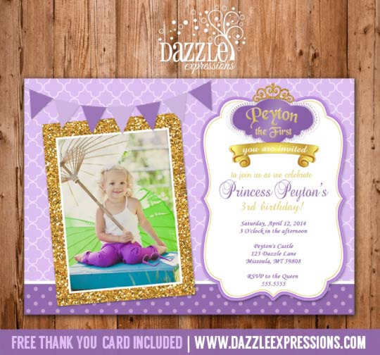 Printable glitter princess sofia the first inspired birthday purple princess glitter birthday invitation free thank you card included filmwisefo