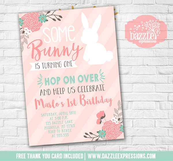 Printable Some Bunny Rabbit Birthday Invitation Spring