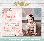 Some Bunny Rabbit Birthday Invitation 2 - FREE thank you card