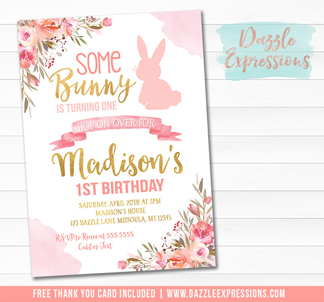 printable pink and gold some bunny rabbit birthday invitation