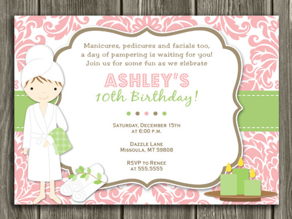 Spa Birthday Invitation - FREE thank you card included