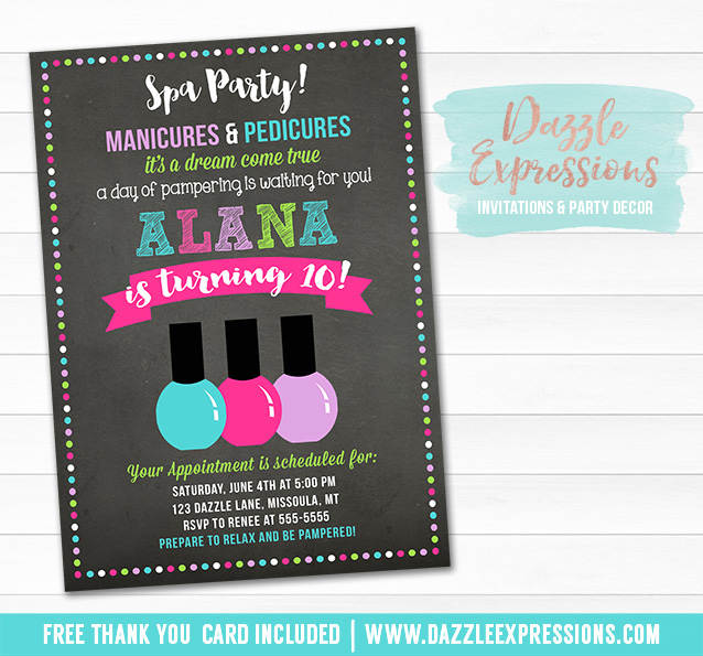Printable Spa Chalkboard Birthday Invitation Pedicure