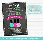 Spa Chalkboard Birthday Invitation - FREE thank you card