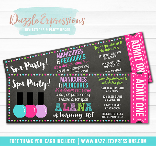 Printable Spa Chalkboard Ticket Birthday Invitation Pedicure and