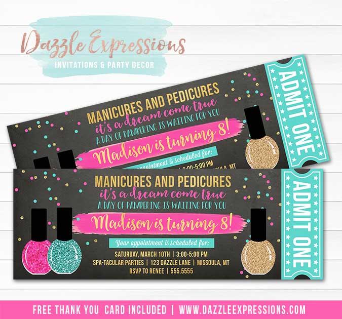 Spa Salon Chalkboard Ticket Invitation 2 - FREE thank you card