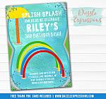 Splash Pad Birthday Invitation 1 - FREE thank you card included