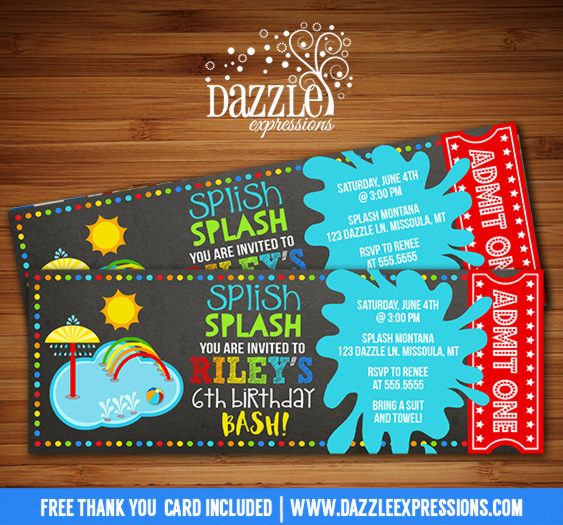 Printable Pool Party Splash Pad Chalkboard Ticket Birthday ...