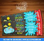 Pool Party Splash Pad Chalkboard Ticket Invitation - FREE thank you card
