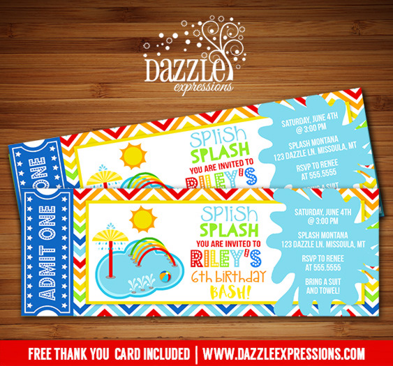 Printable Kids Pool Party Splash Pad Ticket Birthday