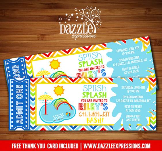 Pool Party Splash Pad Ticket Invitation - FREE thank you card