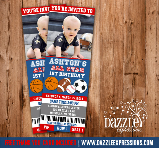 Printable All Star Sports Ticket Birthday Invitation