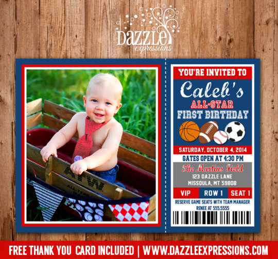 Sports Ticket Birthday Invitation 2 - FREE thank you card included