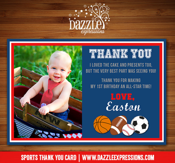 Sports Thank You Card