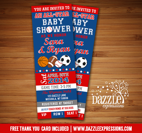 All Star Sports Ticket Baby Shower Invitation - FREE thank you card