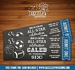 Sports Chalkboard Ticket Invitation - FREE thank you card included