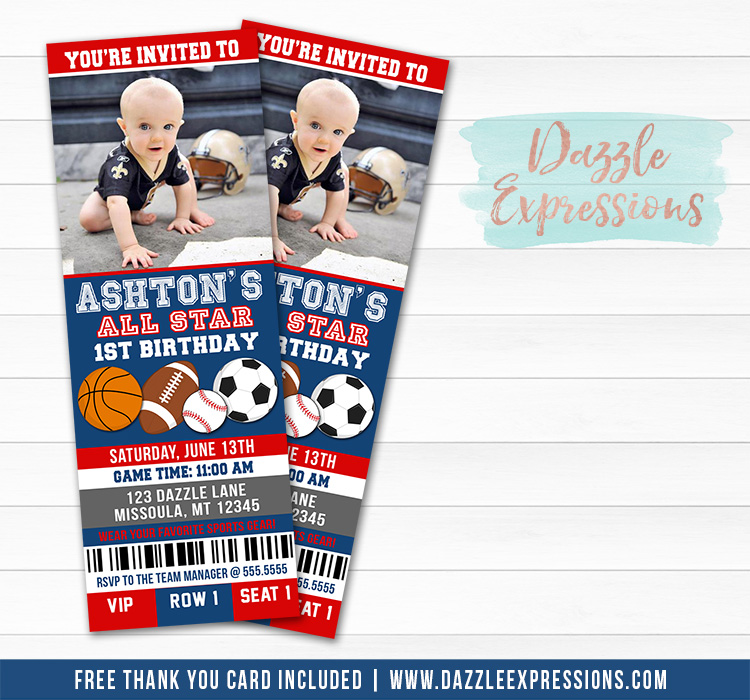 Sports Ticket Birthday Invitation 1 - FREE thank you card included