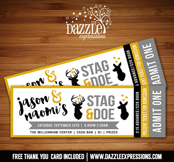 printable stag and doe ticket invitation wedding party