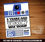 Star Jedi Birthday Invitation - FREE thank you card included
