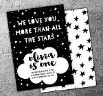We Love More Than All The Stars Invitation - FREE thank you card