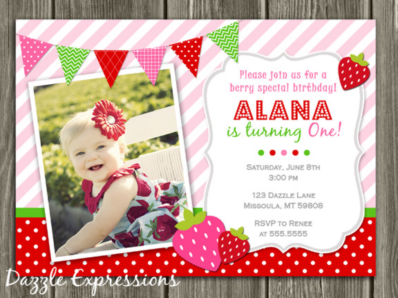 Strawberry Birthday Invitation - Thank You Card Included