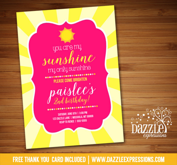 Sunshine Birthday Invitation 2 - FREE thank you card included