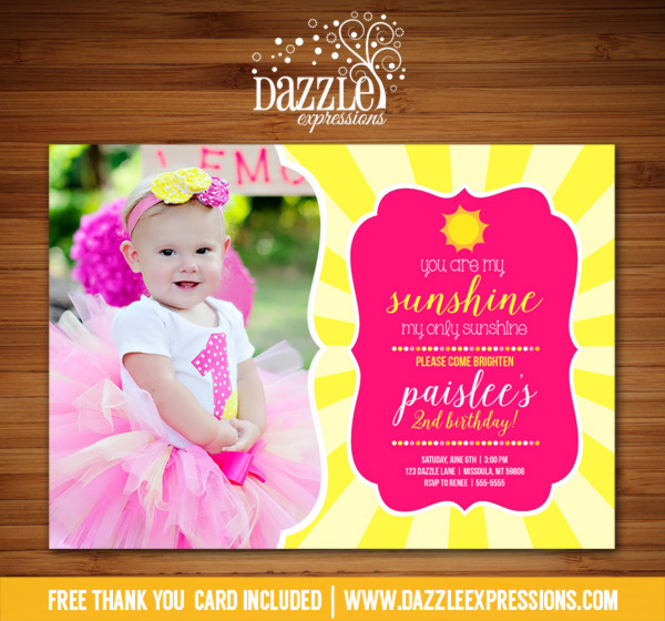 Sunshine Birthday Invitation 1 - FREE thank you card included