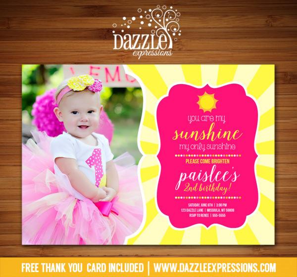 Sunshine Birthday Invitation 1 - FREE thank you card included