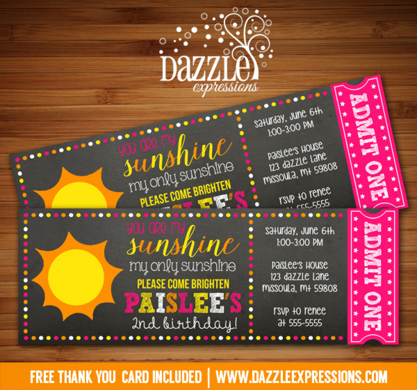 Sunshine Chalkboard Ticket Birthday Invitation - FREE thank you card