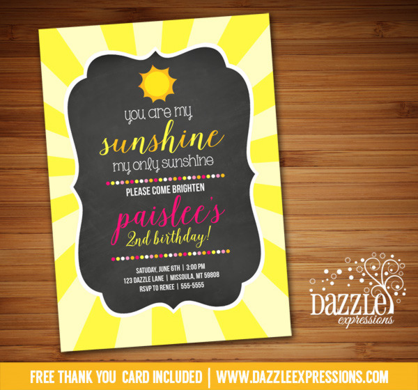 Sunshine Chalkboard Birthday Invitation - FREE thank you card included