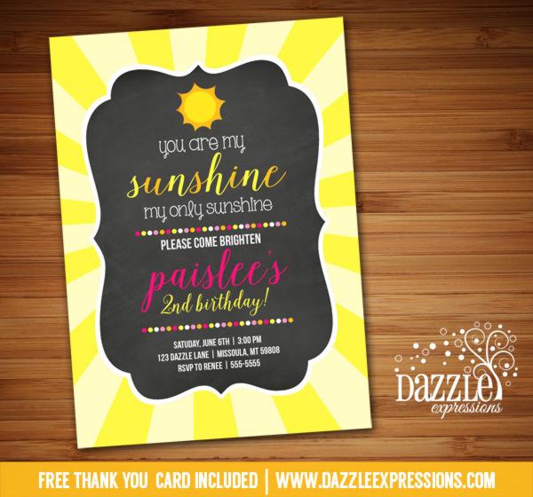 Sunshine Chalkboard Birthday Invitation - FREE thank you card included