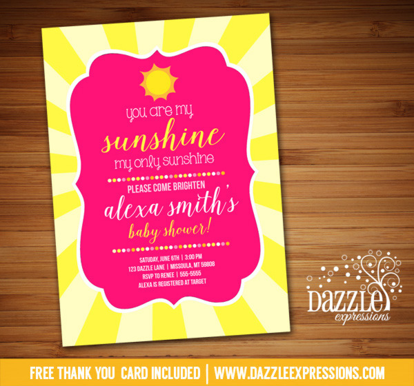 Sunshine Baby Shower Invitation - FREE thank you card included