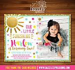 Sunshine Birthday Invitation 3 - FREE thank you card