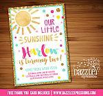 Sunshine Birthday Invitation 4 - FREE thank you card