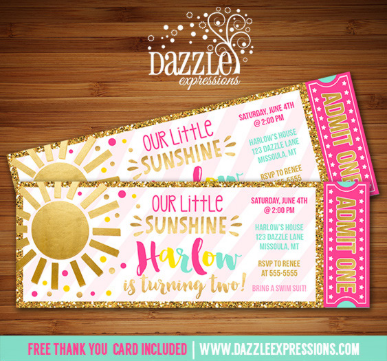 Printable Pink and Gold Glitter Sunshine Birthday Ticket Invitations