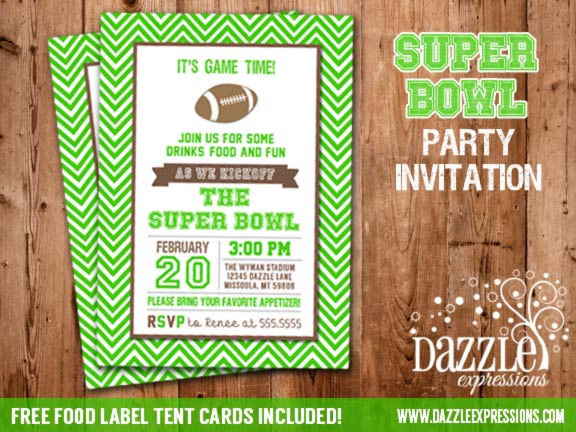 Printable Super Bowl Football Party Invitation Green Chevron