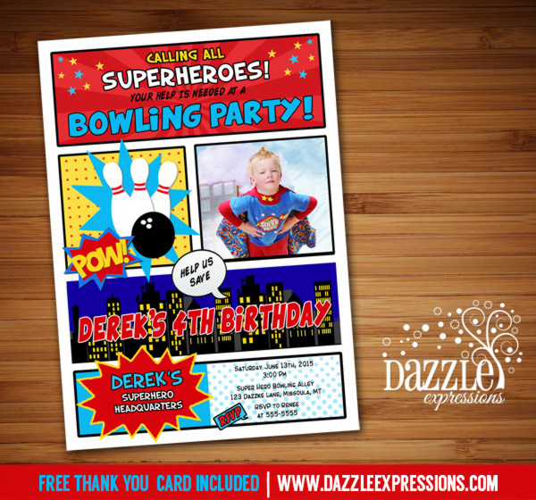 Superhero Bowling Birthday Invitation - FREE thank you card included