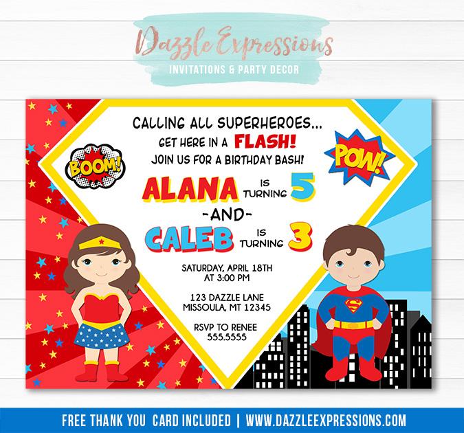 Super Boy and Wonder Girl Birthday Invitation - FREE thank you card