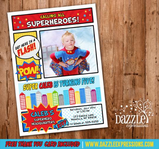 Superhero Comic Birthday Invitation 1 - FREE thank you card included