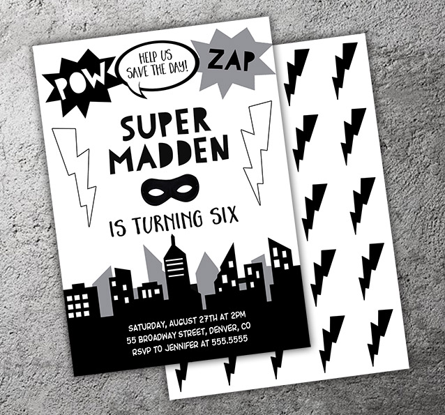 Printable Black And White Superhero Birthday Invitation