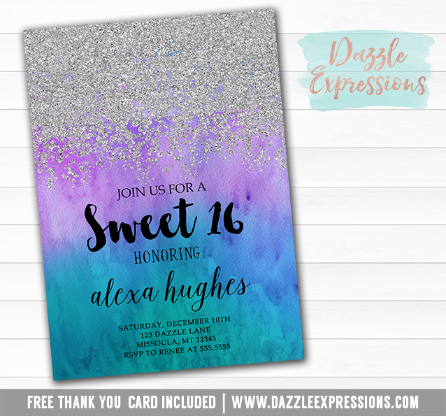 printable silver glitter and ombre watercolor birthday