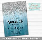 Sweet 16 Ombre Watercolor Invitation 10 - FREE  thank you card
