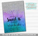 Sweet 16 Ombre Watercolor Invitation 1 - FREE  thank you card