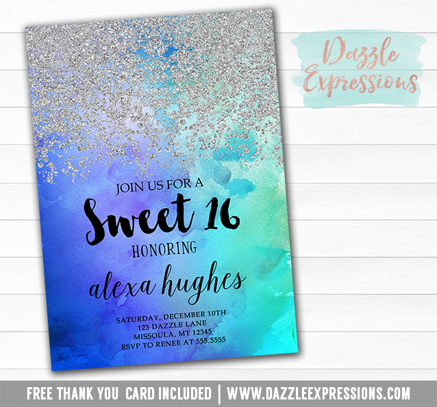 Printable Silver Glitter and Ombre Watercolor Birthday Invitation – Free Printable Sweet 16 Birthday Invitations