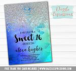 Sweet 16 Ombre Watercolor Invitation 2 - FREE  thank you card