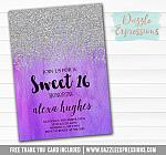 Sweet 16 Ombre Watercolor Invitation 3 - FREE  thank you card